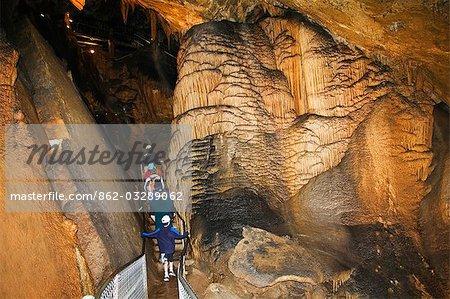 Australia,Tasmania,Gunns Plains Cave. Limestone stalactite and stalagmite formations visited by tourists.