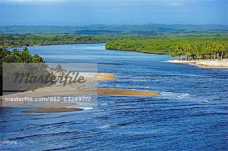 Brazil,Bahia,Boipeba Island. The channel dividing Tinhare and Boipeda on Brazil's Bahian Atlantic coastline from the air.