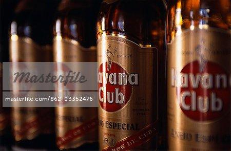 Havana Gold Rum bottles displayed in a shop in Havana Viejo,Old Havana World Heritage Area,Cuba