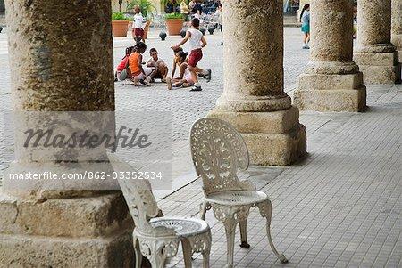Cuba,Havana. School children playing in Plaza Vieja,Havana