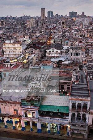 Cuba,Havana. Overview of the city centre,Havana