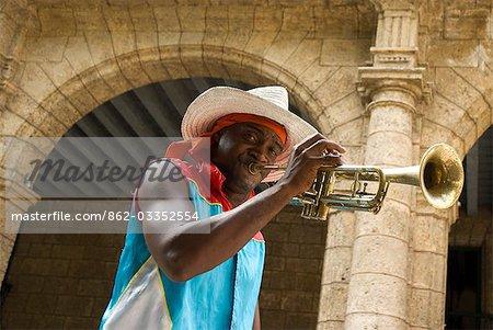 Cuba,Havana. Impromtu street parade,Plaza Vieja