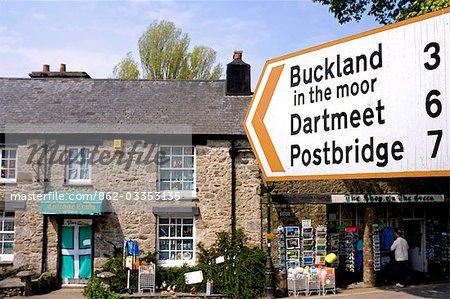 Moorland signposts in Widecombe-in-the-Moor,South Devon,England