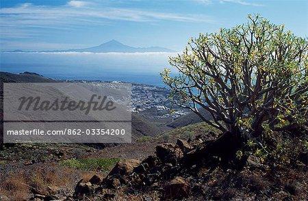 View out over San Sebastian,the capital of La Gomera towards Mount Teide on the island of Tenerife