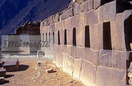 Temple of Ten Niches shows precise Inca stonework at Ollantamytambo.