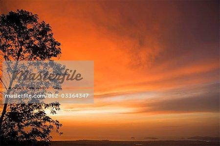 Sunset over the South China Sea and Kota Kinabalu,Sabah,Borneo