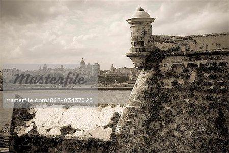 Cuba,Havana. Castillo de los Tres Reys del Morro,Commonly known as El Morro,the castle was built between 1589 and 1630 across the bay from Havana city.