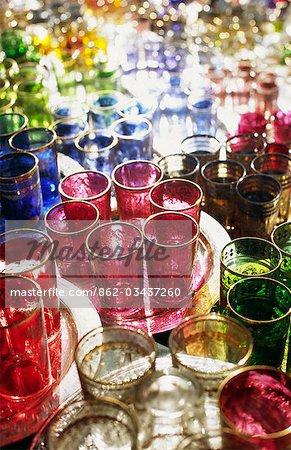 Colourful Moroccan glassware in the souqs of Marrakesh