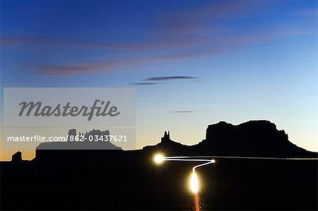 USA Arizona Monument Valley Navajo Tribal Park car light trails