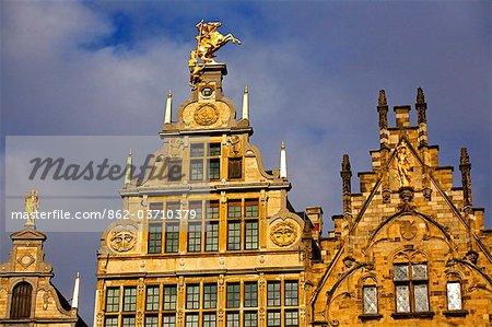 Belgium, Flanders, Antwerp; The decorative merchant houses in the Grote Markt