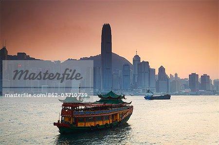 View of Hong Kong Island skyline across Victoria Harbour, Hong Kong, China