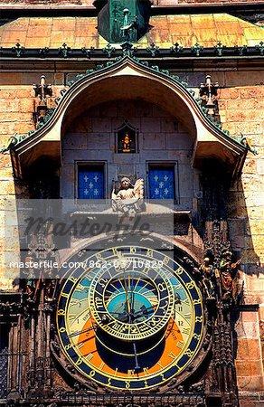 Czech Republic, Prague; The 15th Century Astronomical Clock on Prague's Old Town Hall