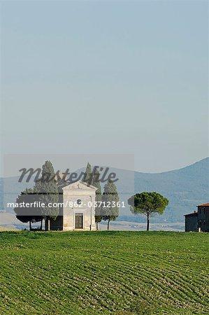 Italy,Tuscany,Val d'Orcia. Chapel of Vitaleta.