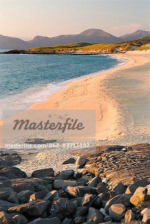 Sunset on Borve beach, Isle of Harris, Hebrides, Scotland, UK