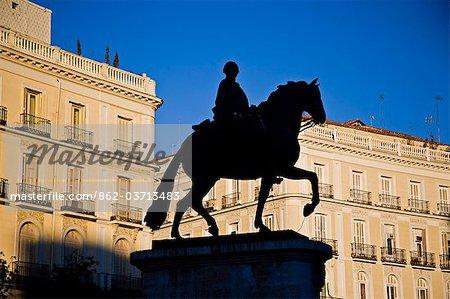 Statue of Carlos III in Puerta del Sol square. Madrid, Spain.
