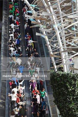 Interior of Langham Place shopping mall, Mongkok, Kowloon, Hong Kong, China