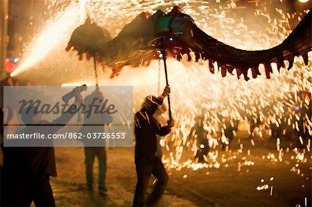 China, Guizhou Province, Taijiang, Fire Dragon lunar new year festival