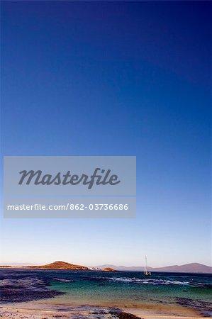 Falkland Islands, Carcass Island. View across Port Pattison towards Beechams Island and West Falkland (background).