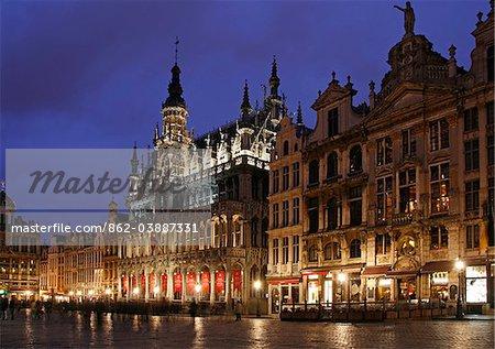 La Grande Place in Brussels at Dusk, Belgium