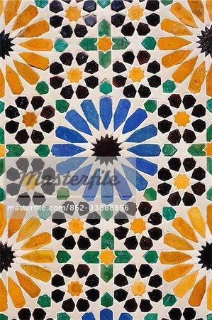 Islamic decorative tiles (zeligs). Tetouan, Morocco