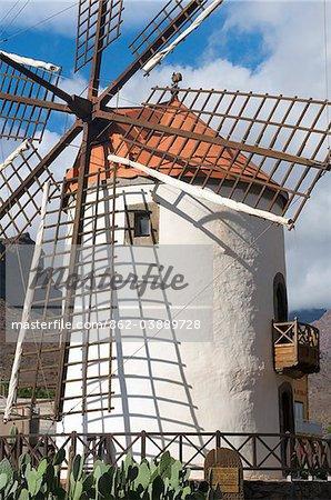 Windmill near Puerto Mogan, Gran Canaria, Canary Islands, Spain