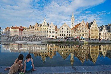 Europe, Belgium, Flanders, Ghent (Gent), waterfront town houses