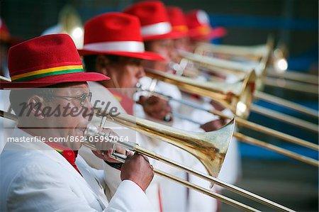 South America, Bolivia, Oruro, Oruro Carnival; Procession of trombone players