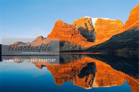 South America, Colombia, El Cocuy National Park, reflection of mountains in Laguna de la Plaza