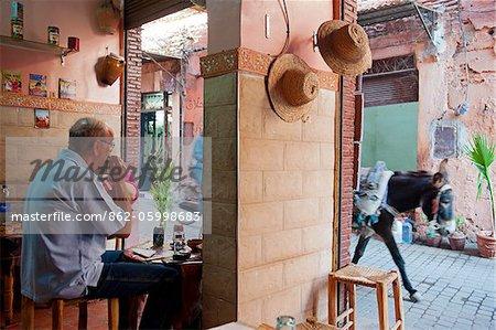 Roadside cafe serving traditional Moroccon cuisine, Northern Medina, Marrakech, Morocco