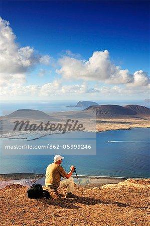 Graciosa island seen from the Mirador del Rio. Lanzarote, Canary Islands