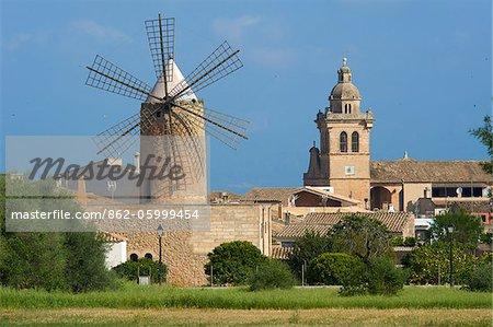 Windmill in Algaida, Majorca, Balearic Islands, Spain