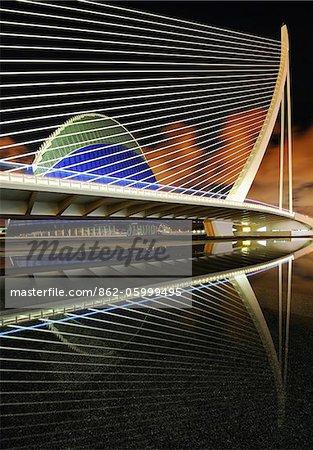 Europe, Spain, Valencia, A reflection shot of L'Assut de l'Or Bridge and Agora.