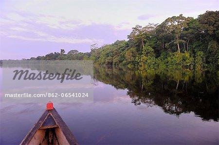 Boat on the Lago de Tarapoto, Amazon River, near Puerto Narino, Colombia