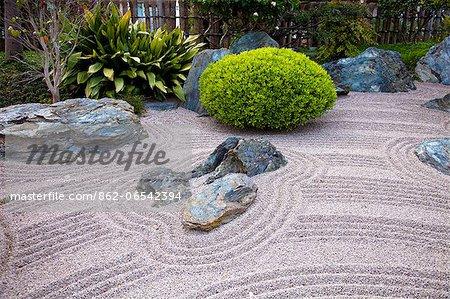 Zen Garden at Japanese Gardens in Larvotto, Principality of Monaco, Europe