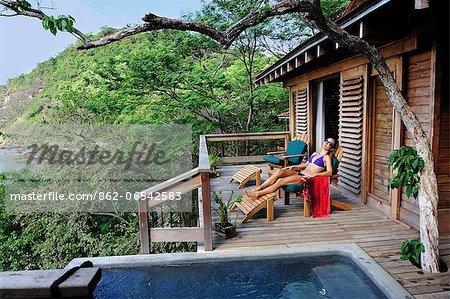 Woman relaxing at Aqua Wellness Resort, Nicaragua, Central America