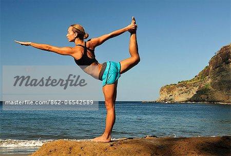 Woman in yoga pose at the Aqua Wellness Resort, Nicaragua, Central America