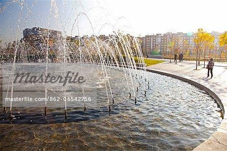 Arganzuela park and fountain in Madrid Rio, Madrid, Spain.