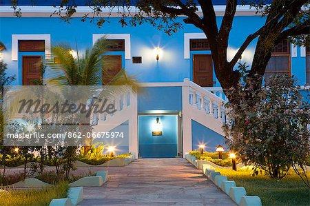 South America, Brazil, Para, Amazon, the facade of the Casarao da Amazonia pousada hotel in Soure on Marajo island