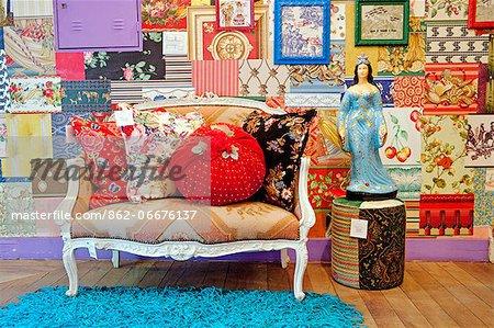 South America, Brazil, Sao Paulo, Jardins, a designer sofa in the Garimpo Fuxique boutique in Sao Paulo