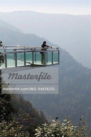 China, Yunnan, Xinping. Sky platform in Mount Ailaoshan Nature Reserve near Xinping.