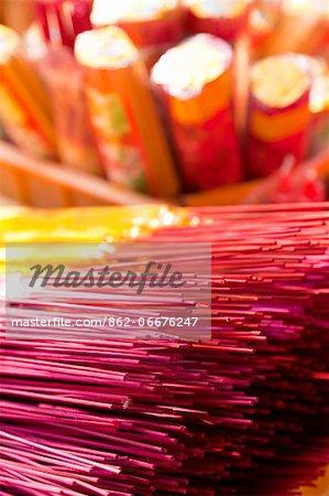 China, Yunnan, Tonghai. Incense sticks for sale at the Xiushan Mountain Park in Tonghai.