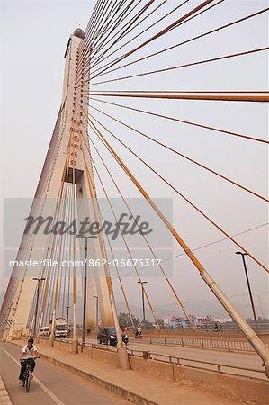 China, Yunnan, Jinghong, The Lan Cang Jiang Bridge spanning the Mekong River at Jinghong, the capital of Xishuangbanna.