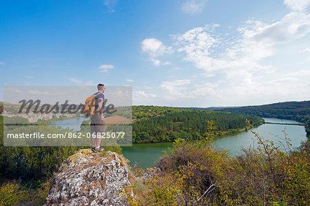 Europe, Bulgaria, hiker in Rusenski Lom National Park, River Lom (MR)