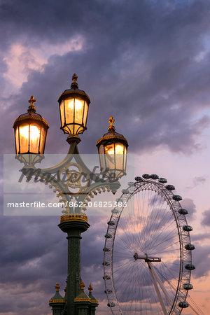 Europe, England, London, Westminster Bridge and Millennium Wheel,