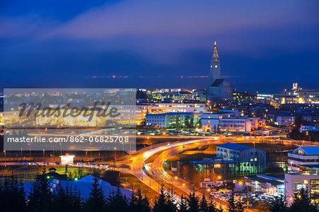 Europe, Iceland, Reykjavik, night time city view