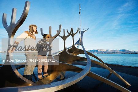 Iceland, Reykjavik, Solfar (Sun Voyager), iconic stainless-steel modern sculpture representing a Viking longboat by Jon Gunnar Arnason (MR)
