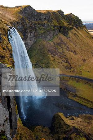 Europe, Iceland, Seljalandsfoss waterfall