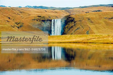 Europe, Iceland,  Skogarfoss waterfall