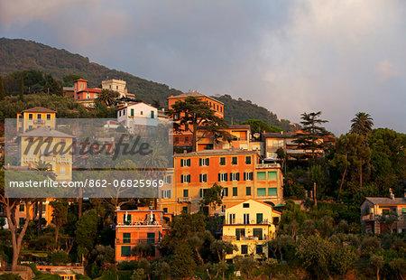 Northern Italy, Italian Riviera, Liguria; Camogli. View over the hills from the sea