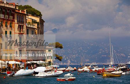 Northern Italy, Italian Riviera, Liguria, Portofino. Boats in the marina of portofino